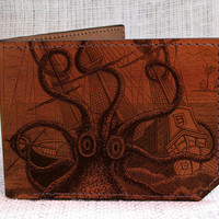 wallet  leather wallet  octopus attacks wallet  men by backerton