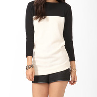 Contrast Tunic Sweater