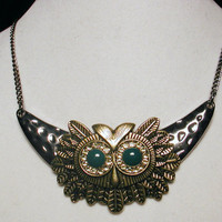 Crystal Owl Necklace in Gunmetal and Brass - MOON OWL