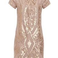 Cream Gold Sequin Tribal Shift Dress
