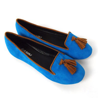 Contrast Tuxedo Loafers - Royal Blue | .H.C.B.