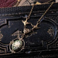 Victorian Flower Cameo Necklace- Brass and Green - $28.00 : RagTraderVintage.com, Handmade Indie Retro Accessories