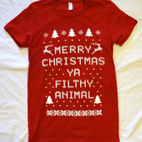 RED Ladies AMERICAN APPAREL  &quot;Ugly Christmas Sweater&quot;  T shirt:  &quot;Merry Christmas ya Filthy Animal&quot;