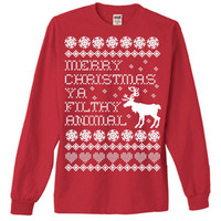 Ugly Christmas Sweater T-Shirt Home Alone Merry Christmas You Filthy Animal