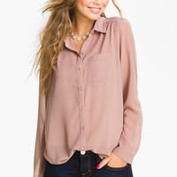 Frenchi Sheer Chiffon Shirt (Juniors) | Nordstrom