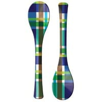 French Bull Blue Plaid Salad Servers Set