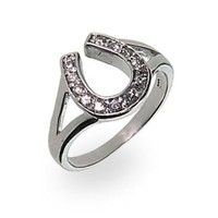 Sterling Silver Cubic Zirconia Lucky Horseshoe Ring: Eve's Addiction: Jewelry
