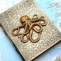 Metal Cigarette Case Brass Octopus Case Nautical Steampunk Gothic Victorian Antiqued Gold Brass Slim Metal Wallet Oversized Card Holder