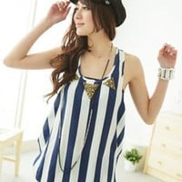 Ladies Wholesale Blue U Neck Sleeveless T-shirts : Wholesaleclothing4u.com