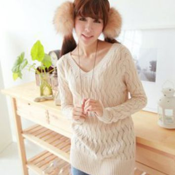 Hollow Out V Neck Apricot Ladies Sweater : Wholesaleclothing4u.com