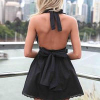 Black Halter Dress with Open Back &amp; Tie Bow Detail