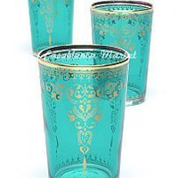Moroccan Tea Glasses Morjana Aquamarine (Set of 6): Kitchen & Dining