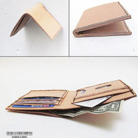 Mens Leather Wallet, Leather Bi-fold Wallet, Tan Leather Wallet Made in America