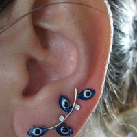 Ear Sweep Wrap Earring - Evil Eye - with Swarovsky - BLUE