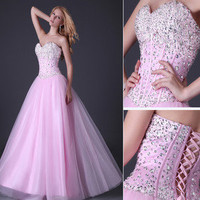 Stunning Sequins Beaded Corset Evening/Formal/Ball gown/Party/Prom dress 8 Size