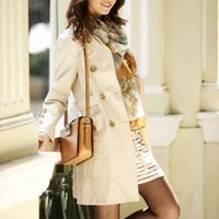 Noble OL Silk Apricot Sleeve Buttons Coats : Wholesaleclothing4u.com