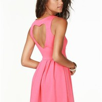 A'GACI Heart Cut Out Fit & Flare Dress - DRESSES