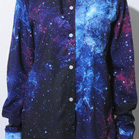 Women's Galaxy Space Print Long Sleeves Top Shirt Blouse TtxJ