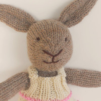 Eco Kids Toy, Waldorf Toy Stuffed Animal, Bunny Rabbit,  Natural and Eco Friendly, Heirloom Quality,  Holiday Kids Toys