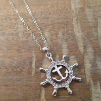 Ships Wheel Necklace - Ships Wheel and Anchor - Rhinestone Ships Wheel Necklace