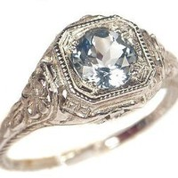 Antique Style Sterling Silver Filigree .65ct Sky Blue Topaz Ring (sz 6): Jewelry: Amazon.com