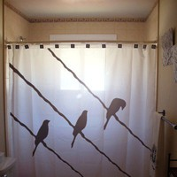 Wire Birds Shower Curtain Bird on a Wire Raven Crow Blackbird bathroom decor bath curtains unique