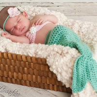 Baby mermaid photo prop- Newborn- 4 piece set-Made to order