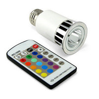 ThinkGeek :: Multi-Color LED Lightbulb w/Remote