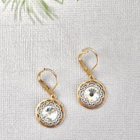 Bright Light Earrings - $26.00: From ourchoix.com, these sweet and sophisticated gold framed earrings pair perfectly with any of our dresses