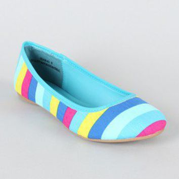 Jean-01 Multicolor Striped Ballet Flat