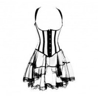 A3098 - Black and White Underbust Corset - Corset Outfits - Fashion