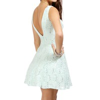 Elissa-Mint Lace And Sequin Prom Dress