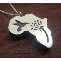 African Pendant - Sunbird and Protea - Sterling Silver (925) and wood