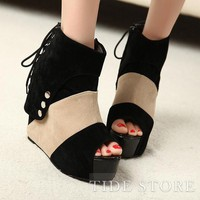 Fashion Suede Wedge Heels Peep-Toe Women's  Boots: tidestore.com