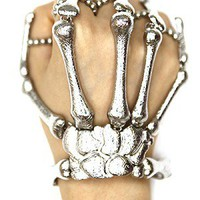 SKELETON HAND BRACELET- SILVER