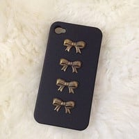 Bronze ribbon studded black matte iphone 4/4S case,studded case,iphone case,handmade iphone case,iphone 4/4s case,iphone 5 case