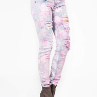 destroyed-bleached-jeans PINK - GoJane.com
