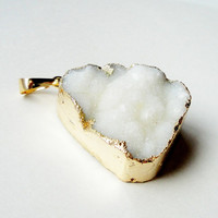 Druzy Drusy White Edged in Silver/ Gold  Agate Pendant/ Drussy Druzzy Drusy Stone Pendant/ Pick Your Favorite
