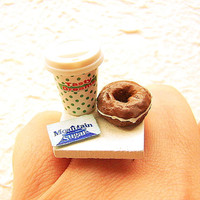 Coffee Ring Kawaii Food Jewelry Chocolate Donut