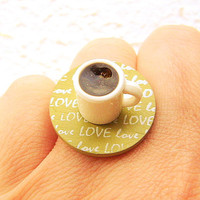 Coffee Ring Coffee Lover Miniature Food Jewelry