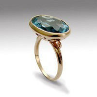 Rose gold ring - Inlaid Sky Blue