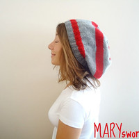 RED and GRAY knitted Slouchy Beanie Made to order by MARYsworks