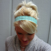 Mint green stretch lace headband feminine/classic/romantic