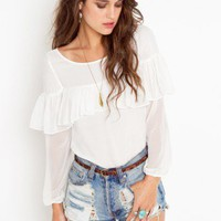 Cloudy Ruffle Top - NASTY GAL