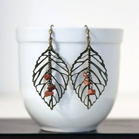 Filigree Bronze leaf earrings with Brown dangles