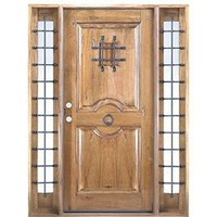 415 2SL PHF - Factory Pre-hung, Finished and Distress Entry Door in Rustic Hardwood