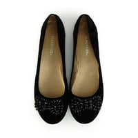 City Classified Women's Print Black Beaded Bow Flats
