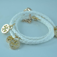 Tory Burch inspired double T White Leather Bracelet -- Gold Plated