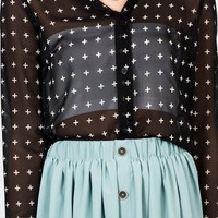semi-sheer-cross-print-blouse BLACKCREAM CREAMBLACK - GoJane.com