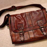 FOSSIL Vintage Reissue Brown Leather Messenger Bag Satchel Purse